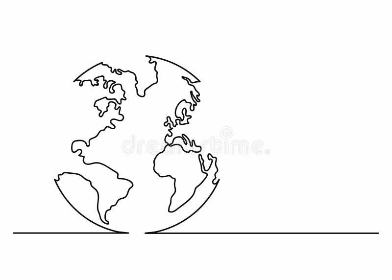 Значок глобуса в линии стиле искусства Значок земли планеты Непрерывная линия чертеж Одиночная, непрерывная линия стиль чертежа иллюстрация вектора