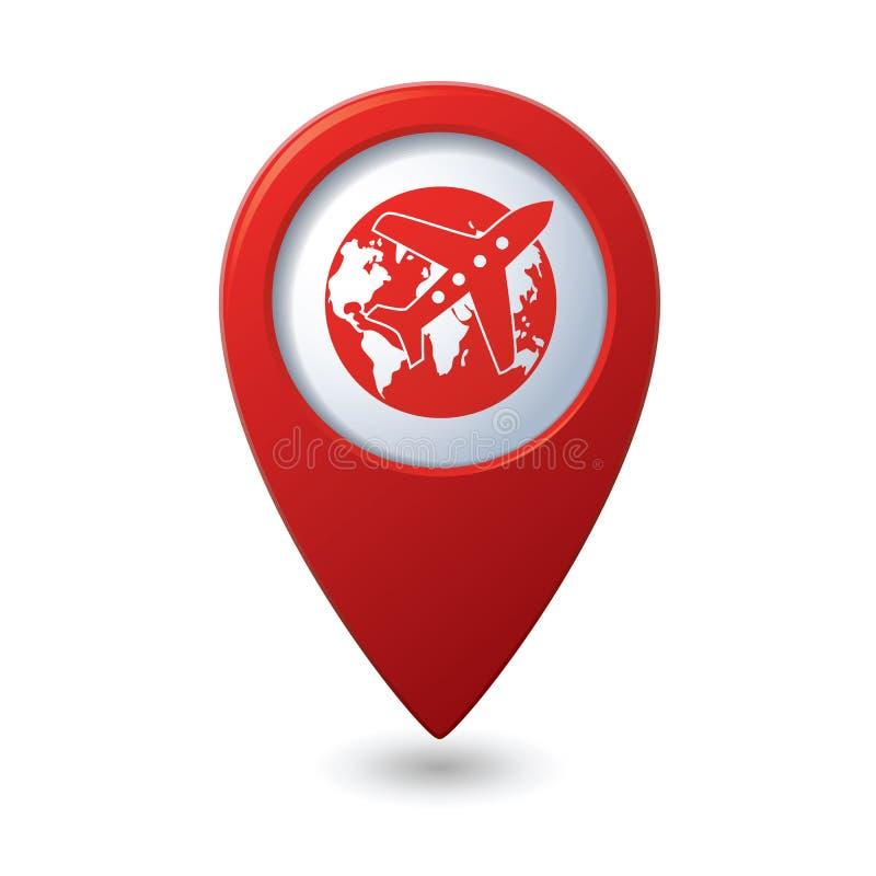 Значок глобуса самолета и земли на указателе карты иллюстрация вектора
