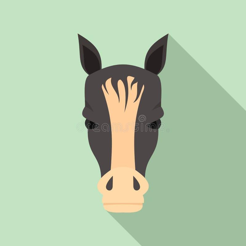 Значок головы лошади, плоский стиль иллюстрация штока