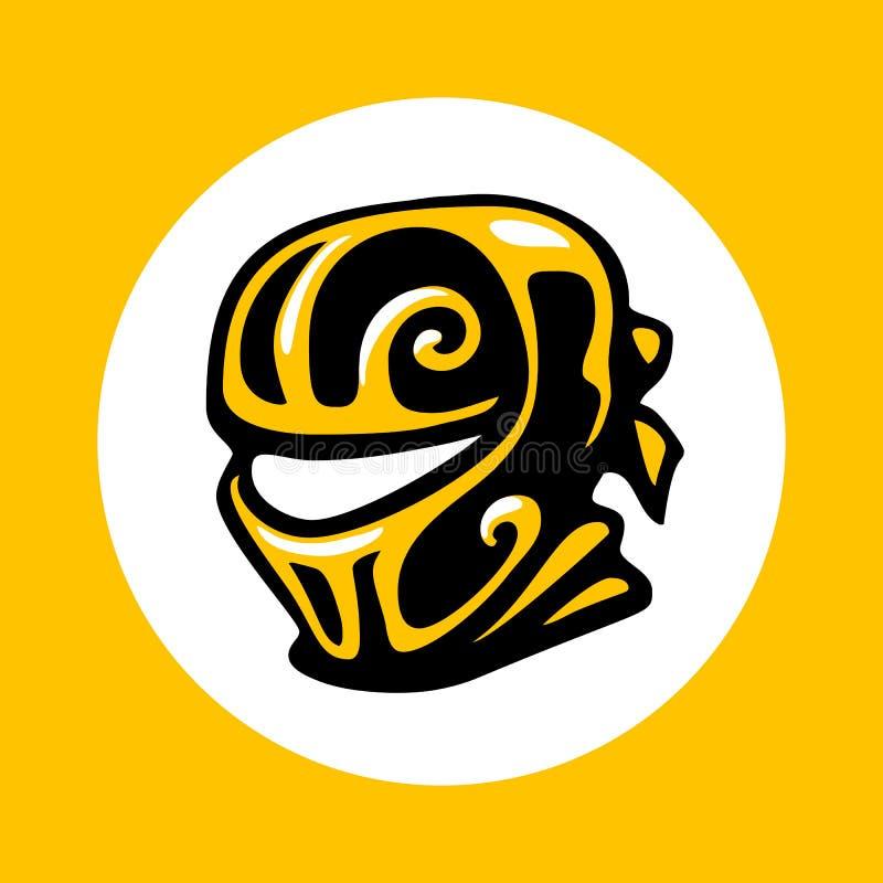 Значок головы Ninja в ультрамодном плоском стиле изолированный на белой предпосылке Символ балаклавы иллюстрация штока