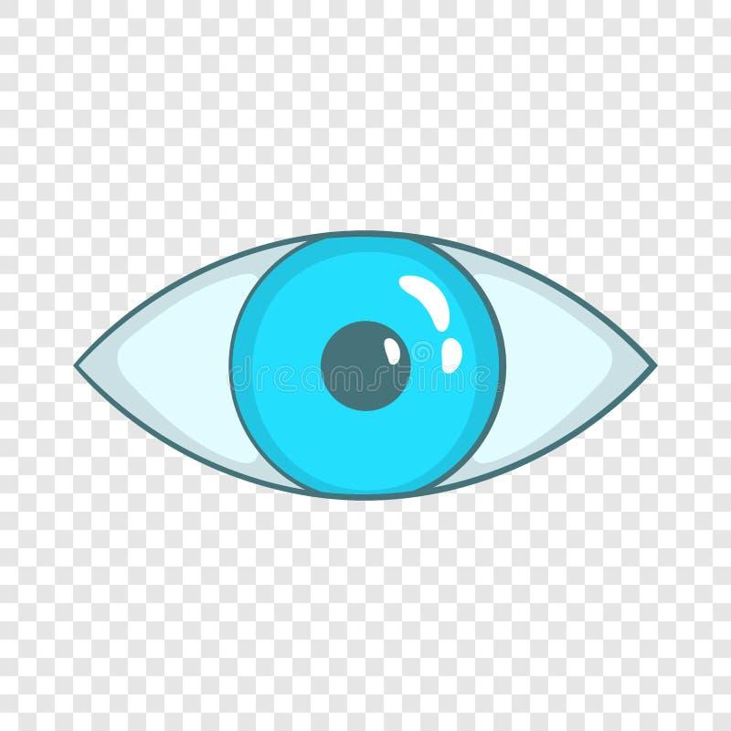 Значок голубого глаза в стиле шаржа иллюстрация вектора