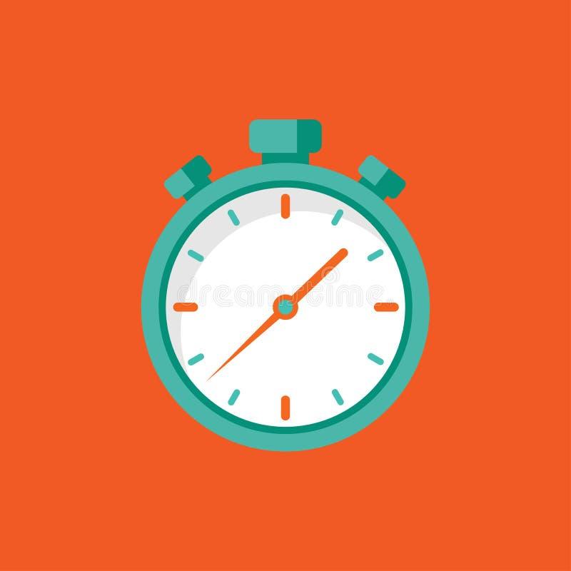 Значок голубого секундомера плоский изолированный на красном цвете r бесплатная иллюстрация