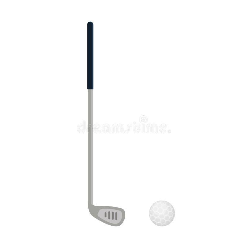 Значок гольф-клуба изолированный на белой предпосылке, плоском элементе для играть в гольф, оборудовании гольфа - vector иллюстра иллюстрация штока