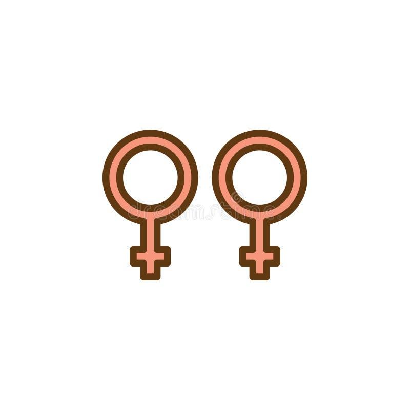 Значок гомосексуального рода плоский иллюстрация штока