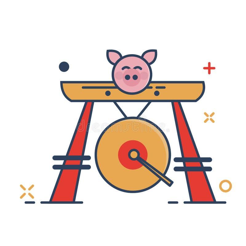Значок гонга - со стилем заполненным планом иллюстрация вектора