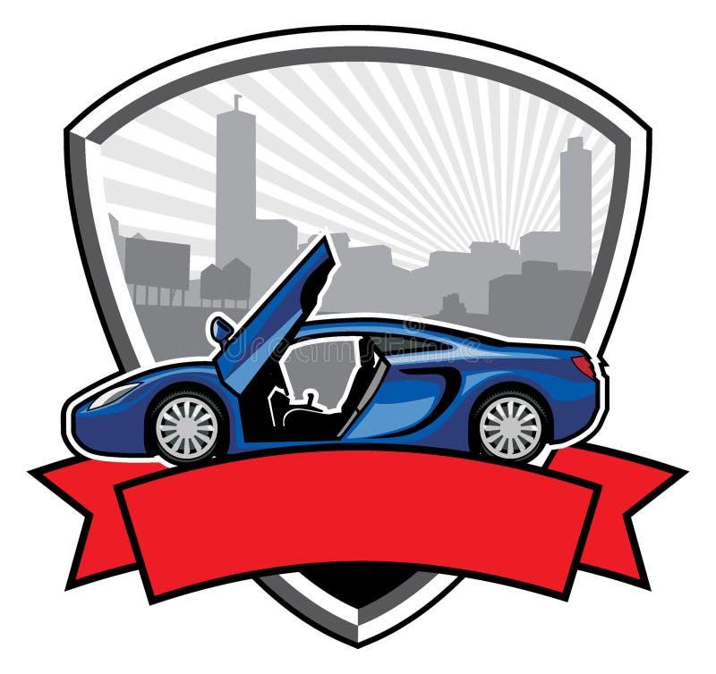 Значок гоночного автомобиля с предпосылкой здания города иллюстрация вектора