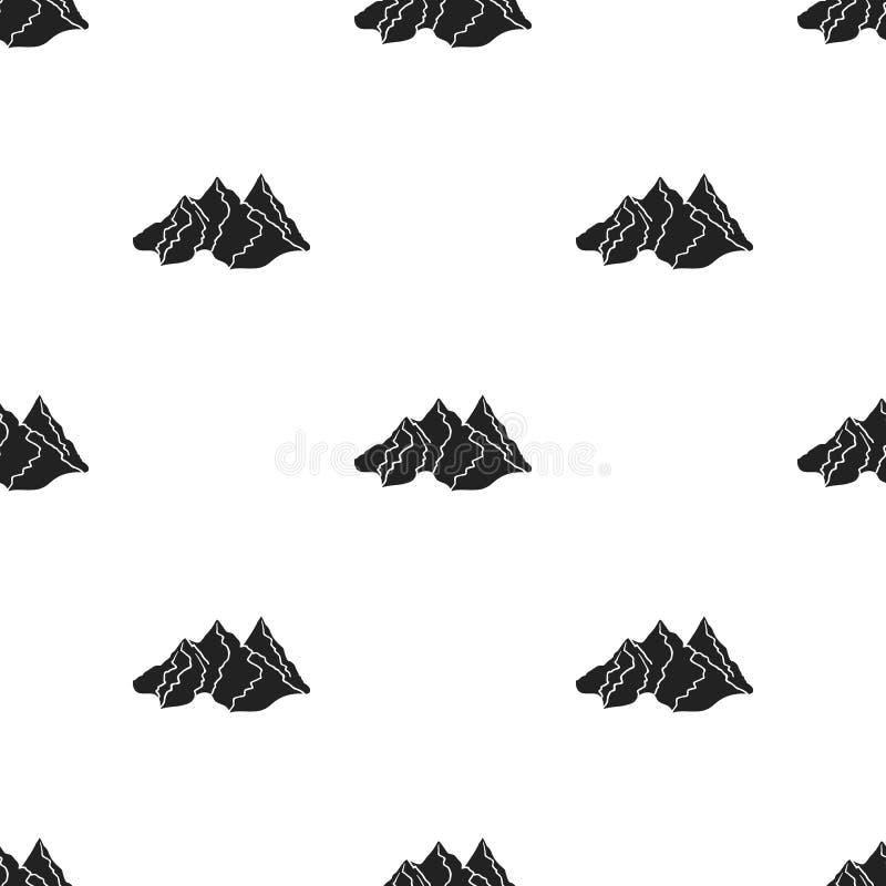 Значок горной цепи в черном стиле изолированный на белой предпосылке Иллюстрация вектора запаса картины лыжного курорта бесплатная иллюстрация