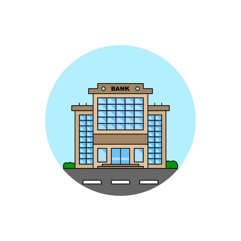 Значок городского пейзажа здания банка иллюстрация вектора