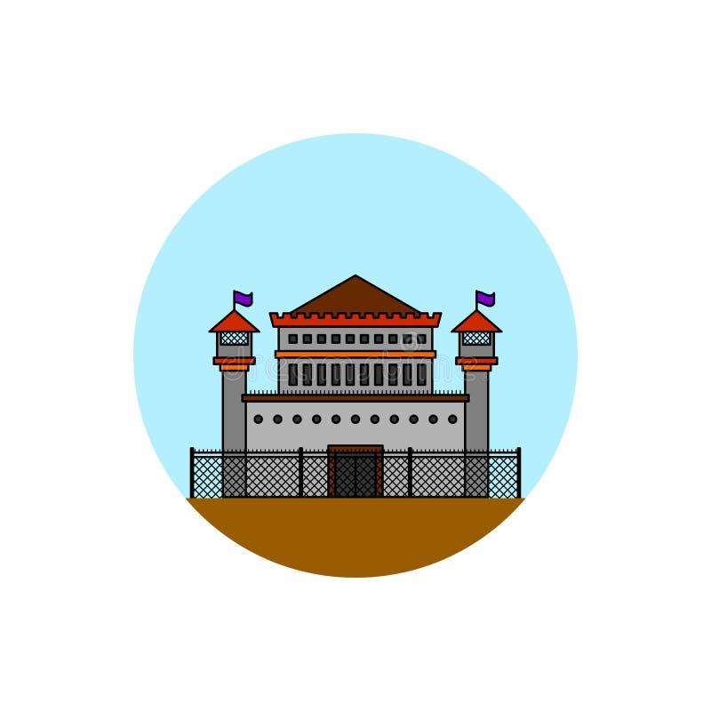 Значок городского пейзажа здания тюрьмы бесплатная иллюстрация