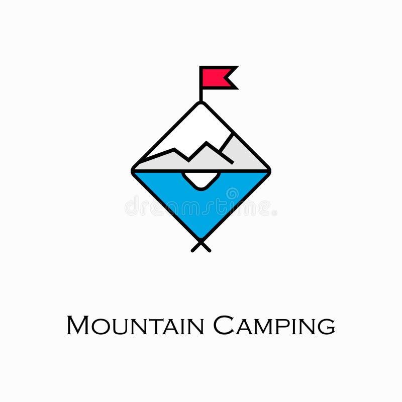Значок горы располагаясь лагерем иллюстрация вектора