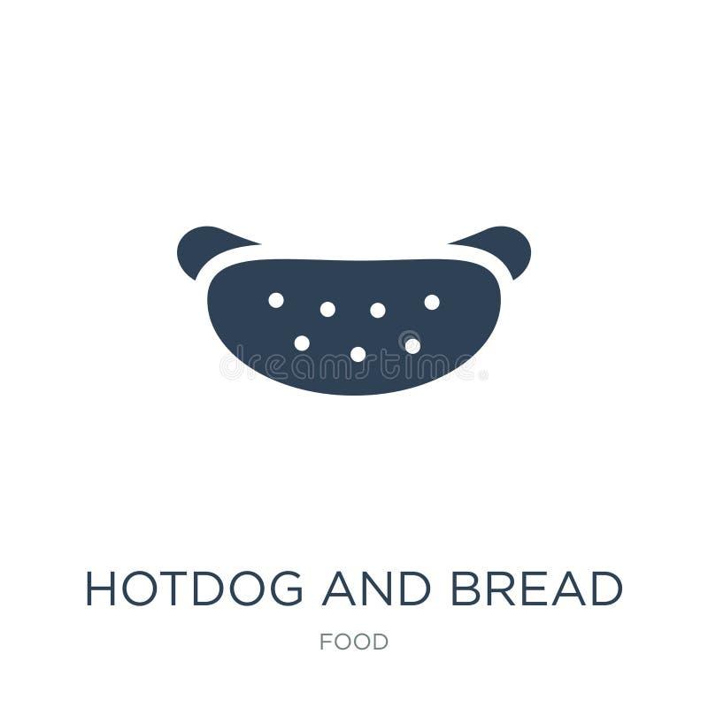 значок горячей сосиски и хлеба в ультрамодном стиле дизайна значок горячей сосиски и хлеба изолированный на белой предпосылке зна бесплатная иллюстрация