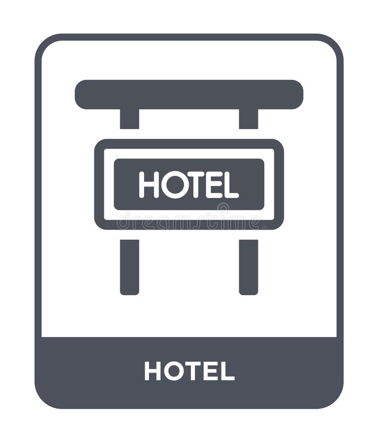 значок гостиницы в ультрамодном стиле дизайна Значок гостиницы изолированный на белой предпосылке символ значка вектора гостиницы иллюстрация вектора