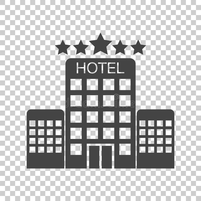 Значок гостиницы на изолированной предпосылке Простая плоская пиктограмма для шины иллюстрация вектора