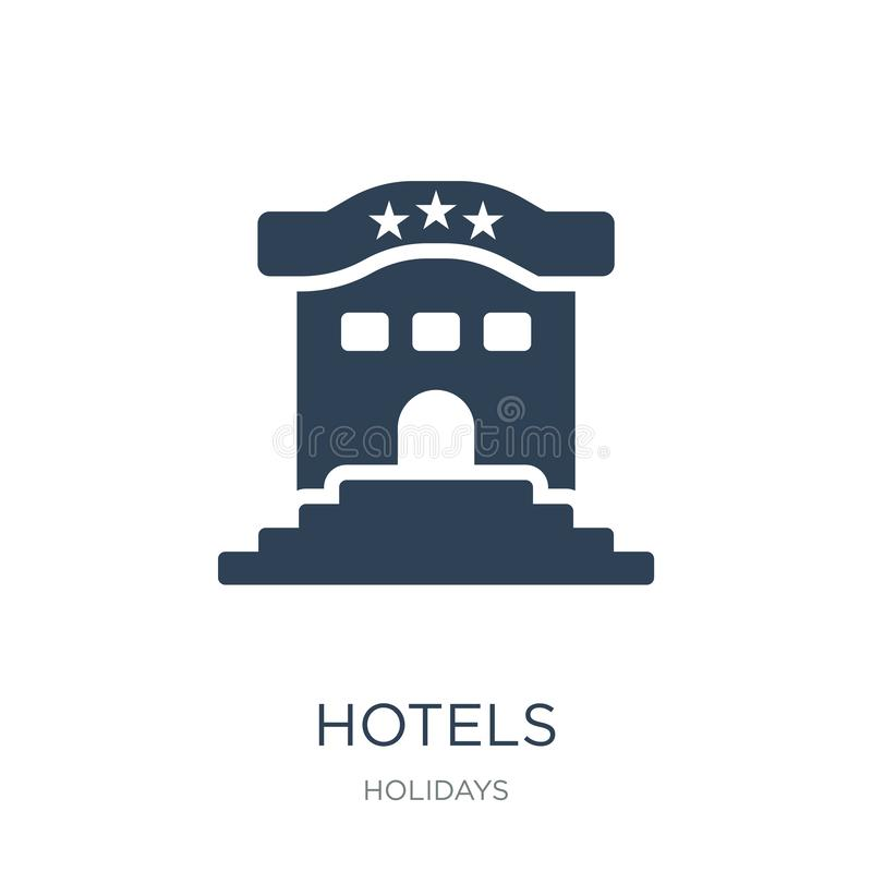 значок гостиниц в ультрамодном стиле дизайна значок гостиниц изолированный на белой предпосылке символ значка вектора гостиниц пр бесплатная иллюстрация