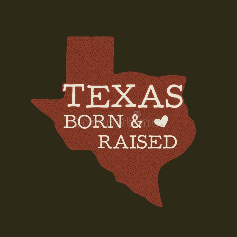 Значок государства Техаса - рожденная поднятая цитата внутрь Иллюстрация оформления винтажной руки вычерченная Заплата огорченная иллюстрация штока
