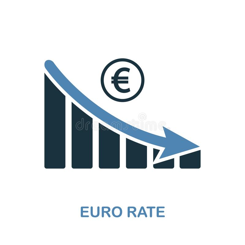 Значок графика уменшения тарифа евро Monochrome дизайн стиля от собрания значка диаграммы Ui Крыса евро пиктограммы пиксела идеал иллюстрация вектора