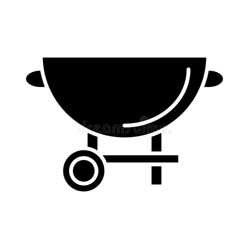Значок гриля барбекю, иллюстрация вектора, черный знак на изолированной предпосылке иллюстрация вектора