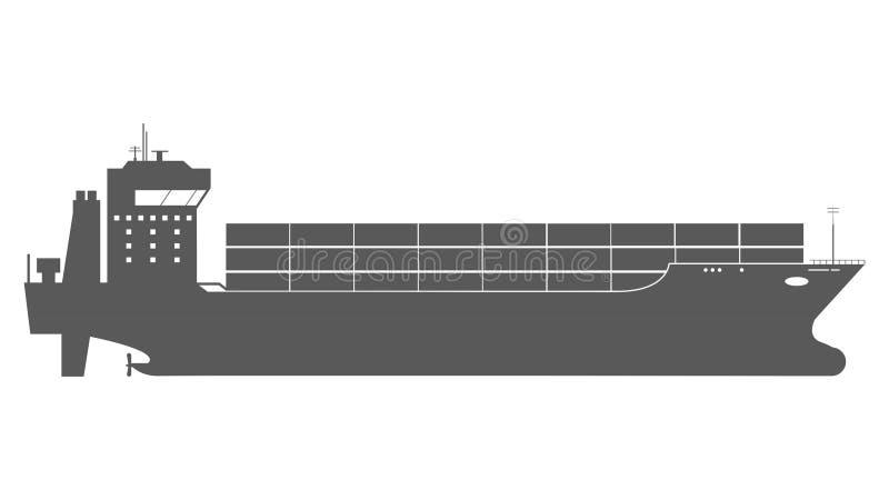 Значок грузового корабля с нагрузками контейнера в процессе доставки экспорт-импорта иллюстрация вектора