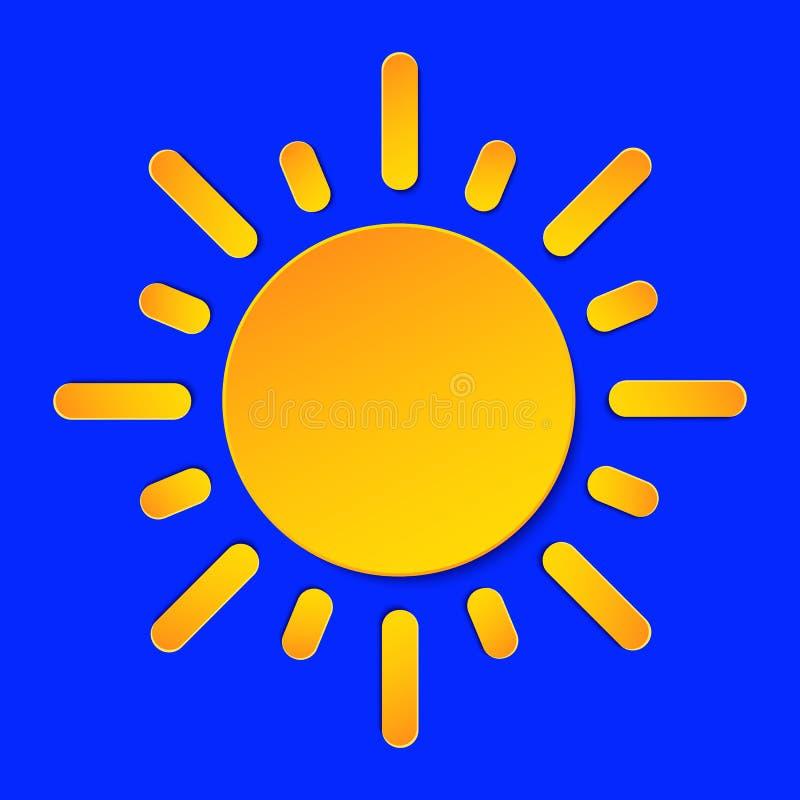 Значок данным по прогноза погоды солнечного дня Желтая бумага символа Солнца отрезала стиль на сини Элемент погоды климата Ультра иллюстрация вектора