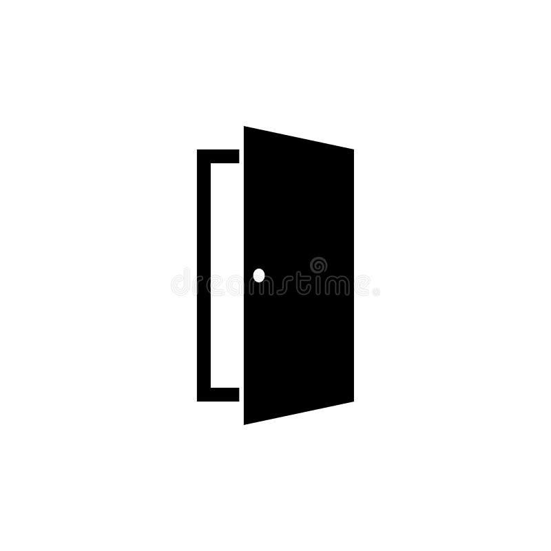 Значок двери в плоском стиле Символ открыть двери иллюстрация штока