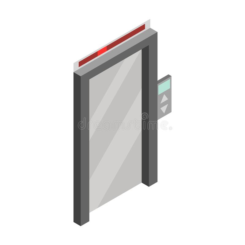 Значок двери лифта, равновеликий стиль 3d бесплатная иллюстрация