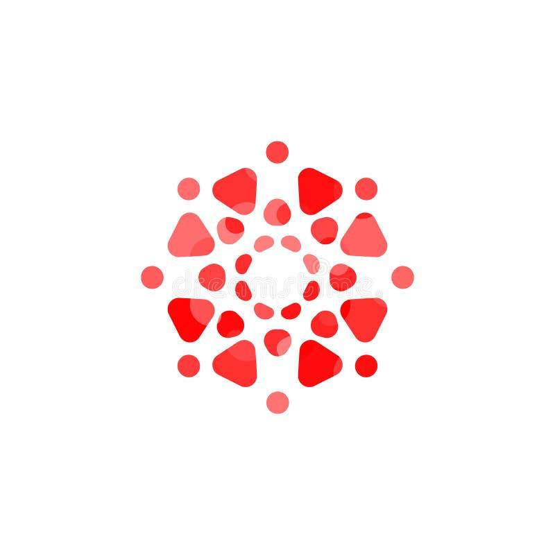 Значок двигателя Формы круга и треугольника в круглом шаблоне логотипа Современная идея эмблемы Дизайн концепции для дела иллюстрация вектора
