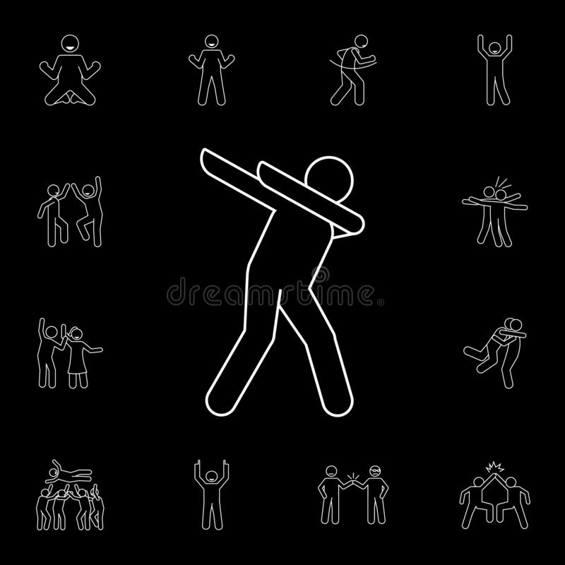 значок движения deb Детальный набор значков торжества людей Наградной графический дизайн Один из значков собрания для вебсайтов,  иллюстрация штока