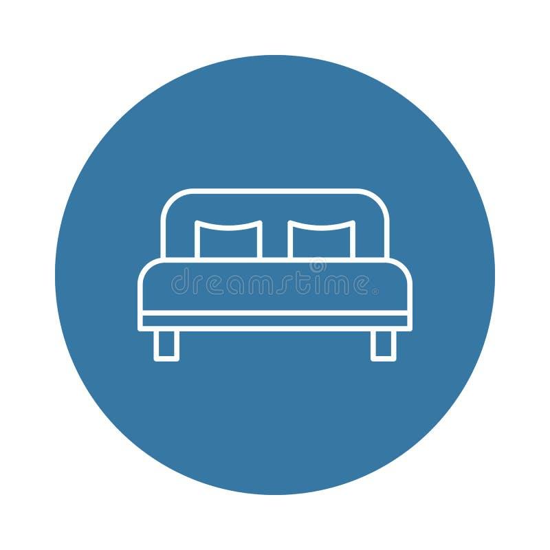 Значок двуспальной кровати Элемент значков гостиницы для передвижных apps концепции и сети Значок двуспальной кровати стиля значк бесплатная иллюстрация