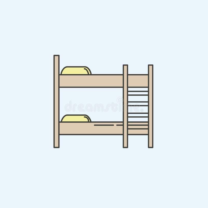 значок двухъярусной кровати мебели Элемент значка домашнего хозяйства для мобильных приложений концепции и сети Покрашенный значо бесплатная иллюстрация
