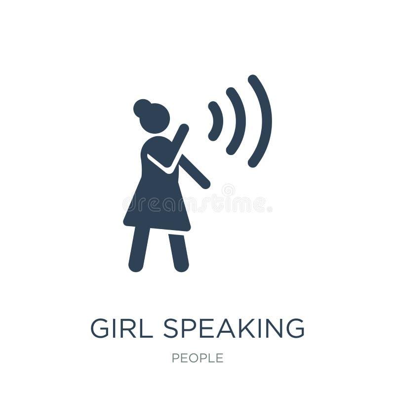 значок девушки говоря в ультрамодном стиле дизайна значок девушки говоря изолированный на белой предпосылке значок вектора девушк иллюстрация вектора