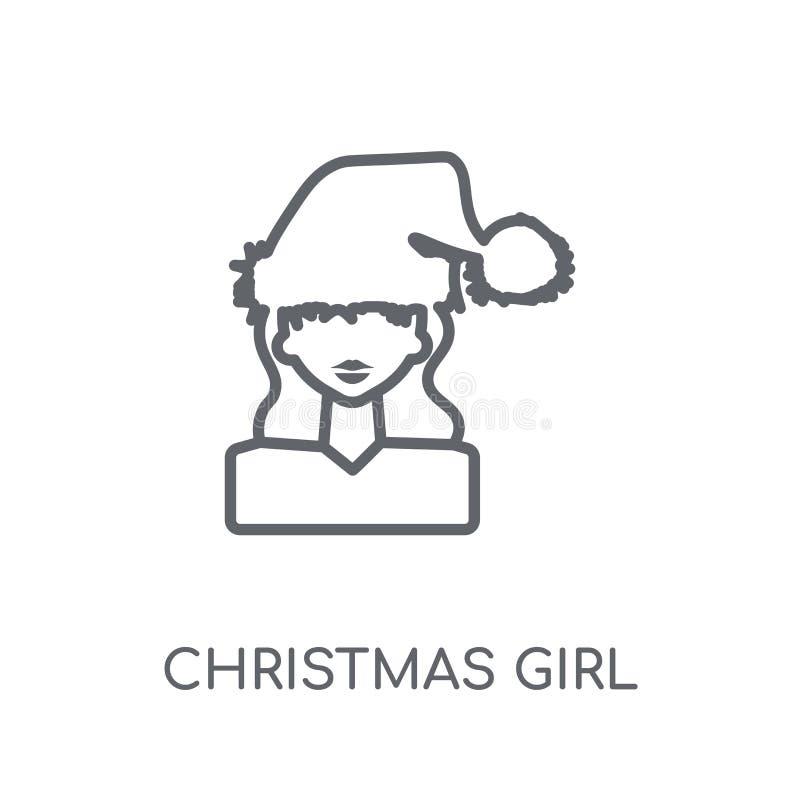 Значок девушки рождества линейный Современный логотип c девушки рождества плана иллюстрация вектора