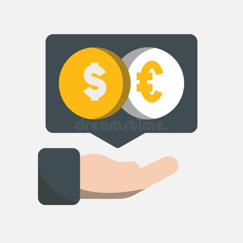 Значок дела, банка и финансов, человеческая статистика обменом тарифа показа руки на экране над ним иллюстрация вектора