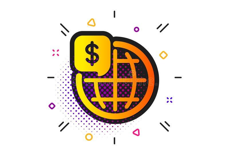Значок денег мира Мировые рынки подписывают r иллюстрация штока