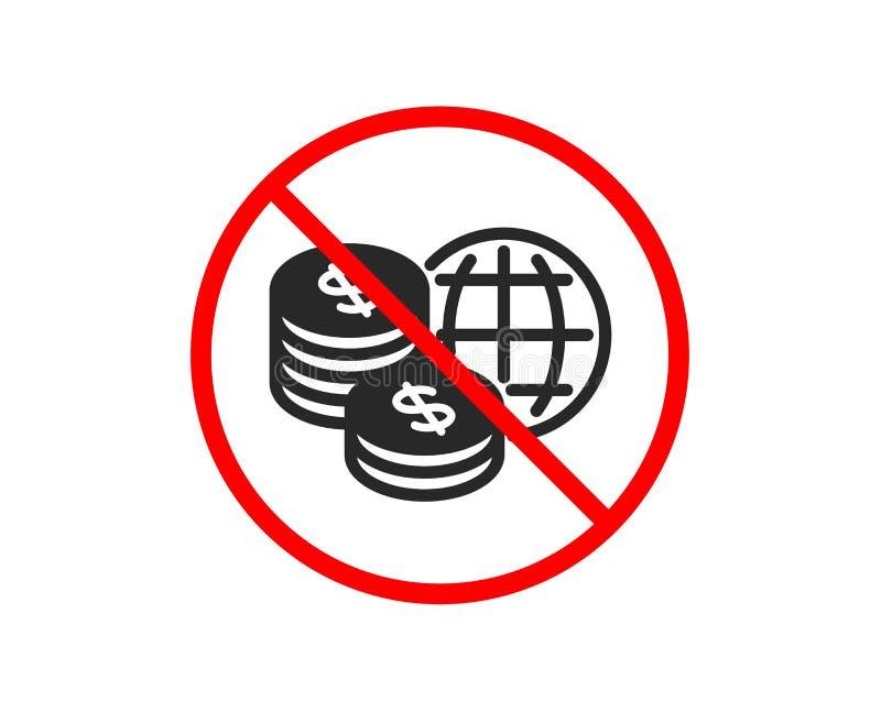 Значок денег мира Мировые рынки подписывают r иллюстрация вектора