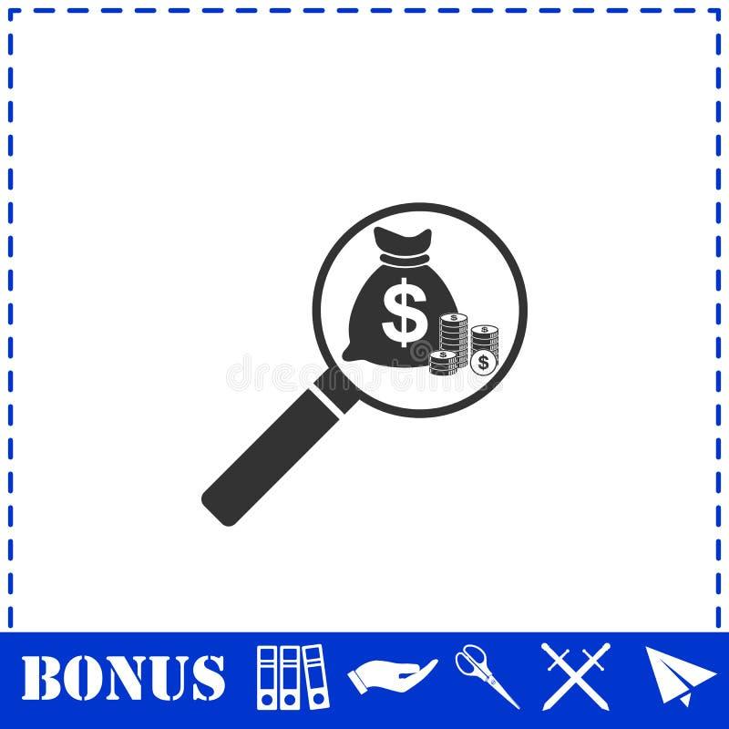 Значок денег поиска плоско бесплатная иллюстрация