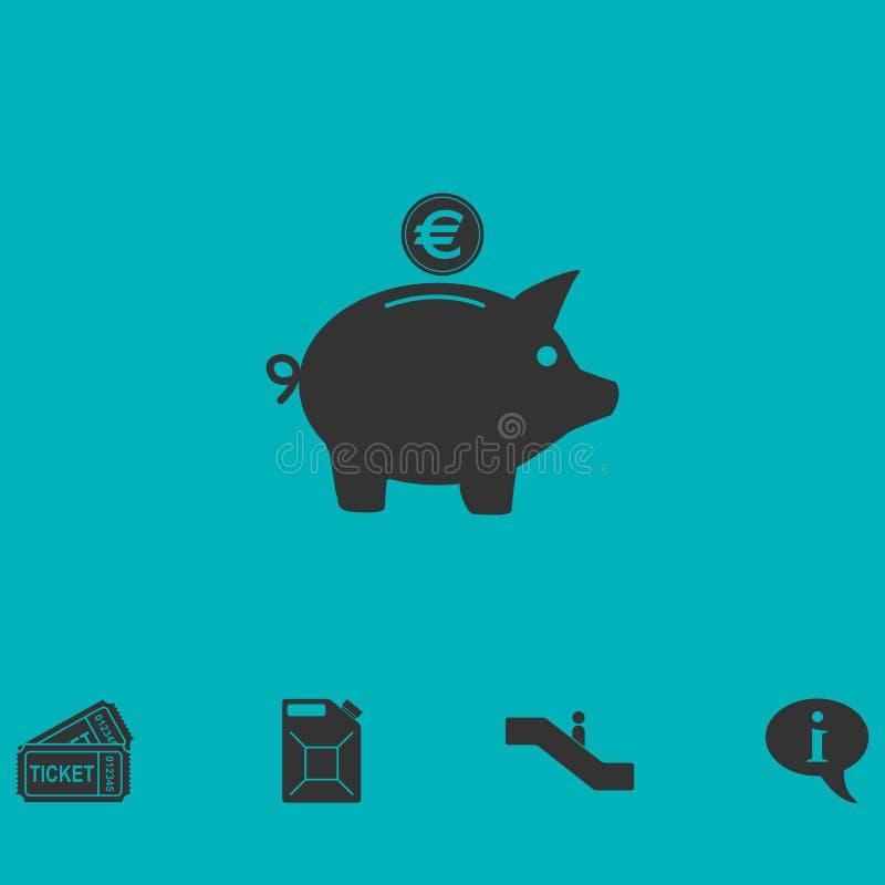 Значок денежного ящика свиньи плоско иллюстрация штока
