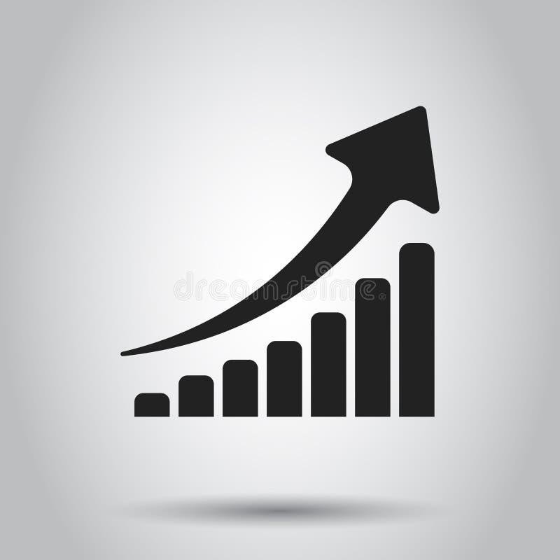 Значок диаграммы роста Вырастите иллюстрация вектора диаграммы плоская Busine иллюстрация вектора
