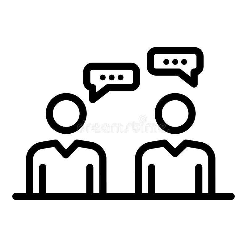 Значок диалога администраторов, стиль плана иллюстрация вектора