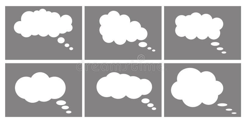 Значок диалогового окна, пузыри шаржа болтовни думать облака иллюстрация вектора