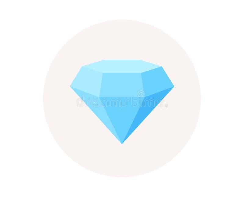 Значок диаманта кристаллический Ювелирные изделия или гениальный знак Королевский символ сокровища вектор иллюстрация вектора