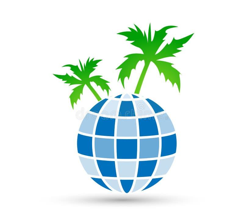 Значок дизайна логотипа заботы дерева глобуса на белой предпосылке Ребенок, дело иллюстрация штока