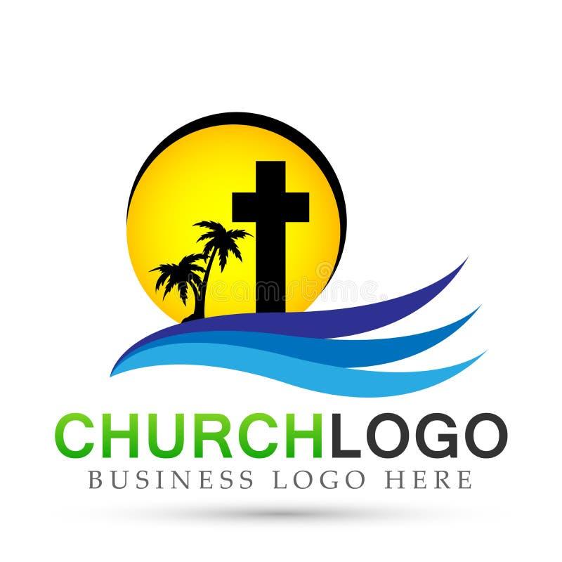 Значок дизайна логотипа любов заботы соединения людей церков города пляжа Солнца на белой предпосылке Классический, старый На бел иллюстрация вектора
