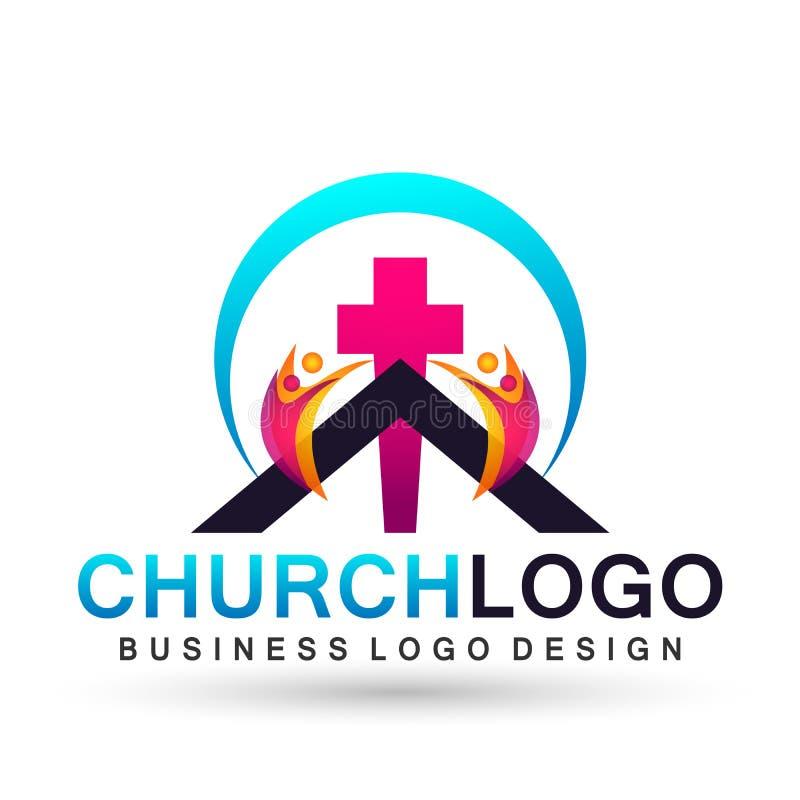 Значок дизайна логотипа любов заботы соединения людей церков города на белой предпосылке иллюстрация штока
