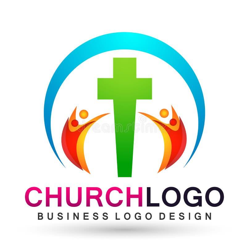 Значок дизайна логотипа любов заботы соединения людей церков города на белой предпосылке бесплатная иллюстрация