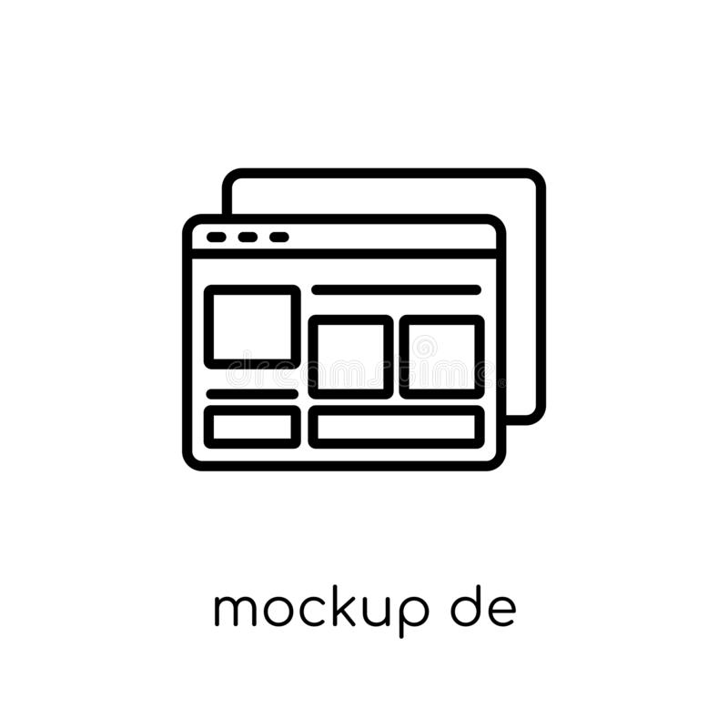Значок дизайна модель-макета Ультрамодное современное плоское линейное desi модель-макета вектора бесплатная иллюстрация