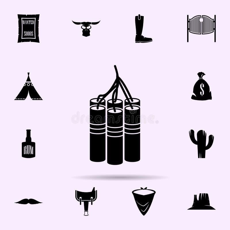 значок динамита набор материальных значков Дикого Запада всеобщий для сети и черни иллюстрация вектора