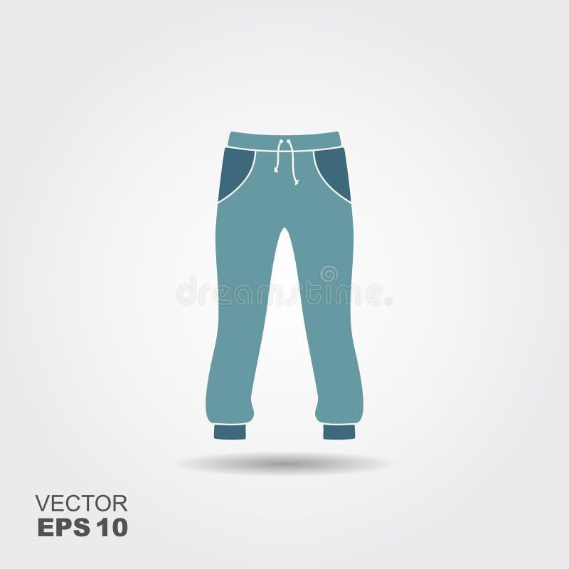 Значок длинных sweatpants плоский с тенью sportswear иллюстрация штока