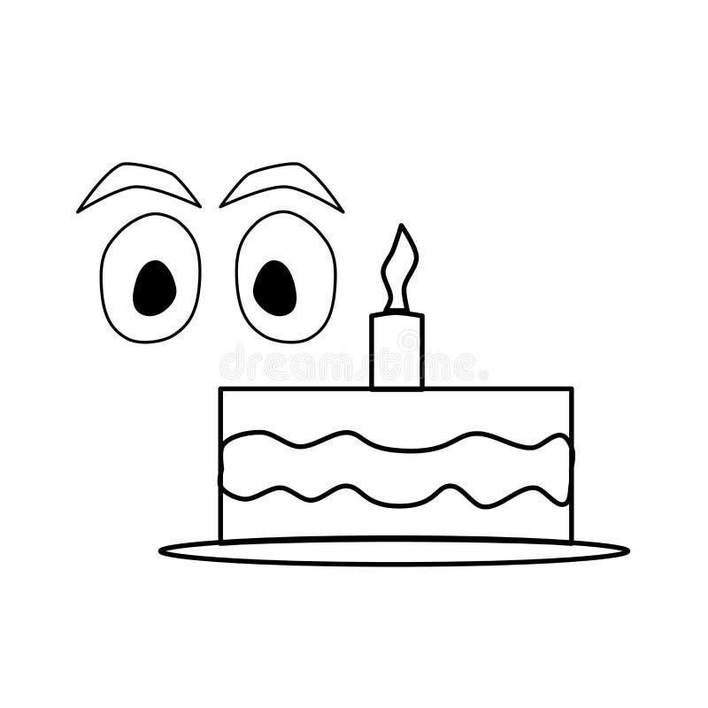 Значок дня рождения Праздничный торт со свечой Иллюстрация логотипа элемента Объект плана t иллюстрация штока
