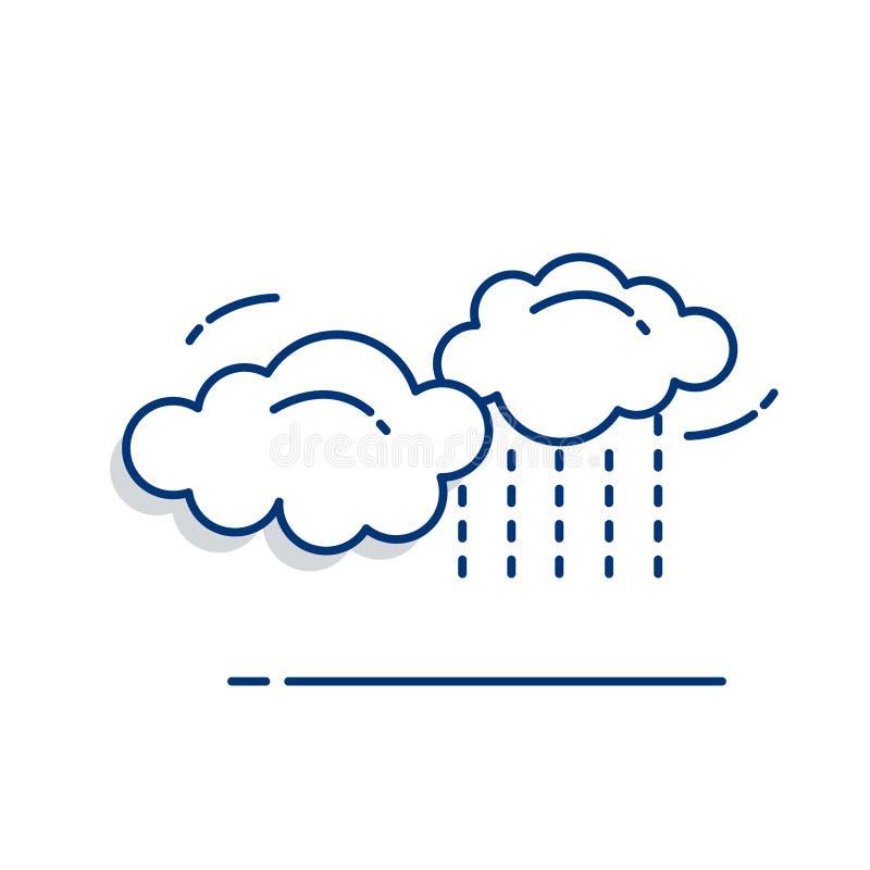 Значок дождевых облаков - со стилем заполненным планом бесплатная иллюстрация