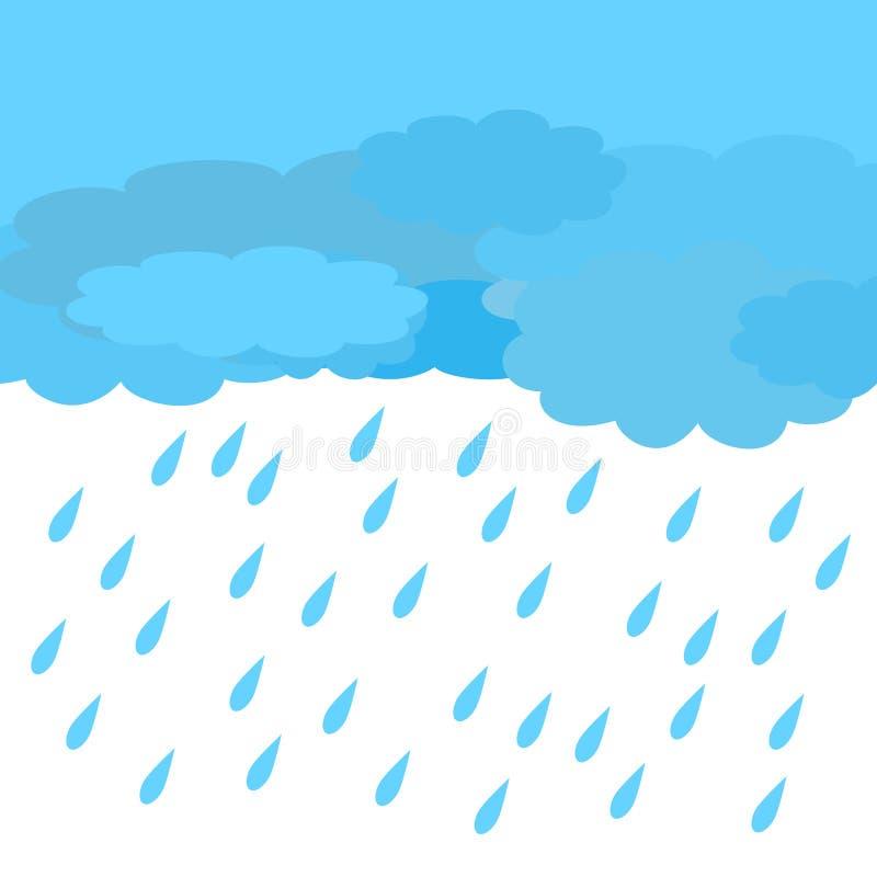 Значок дождя и облаков с белизной и светом - голубой предпосылкой иллюстрация штока